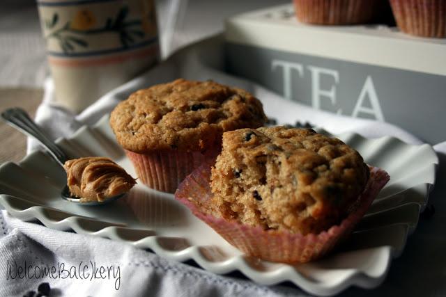 Muffins banana, peanut butter e cioccolato