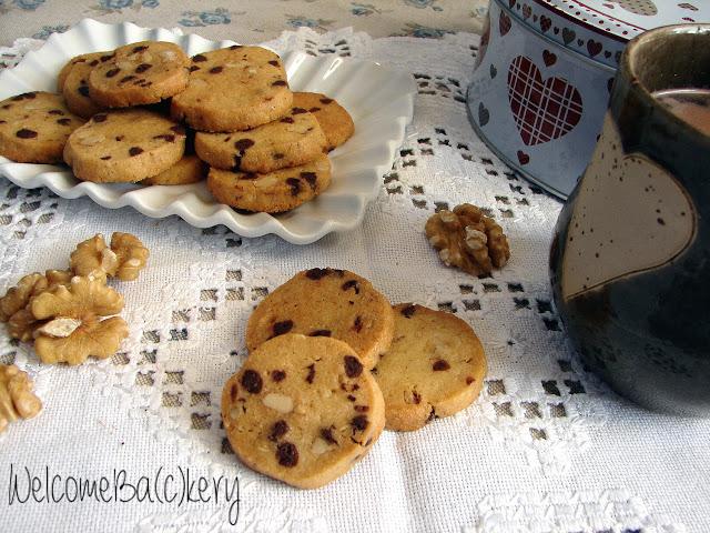 Biscotti noci e cioccolato, con sciroppo d'acero