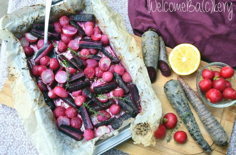 Oven roasted radishes and purple carrots