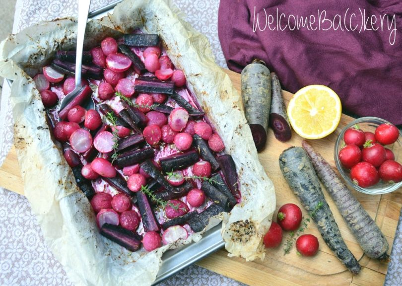 Ravanelli e carote viola al forno. E un arrivederci!