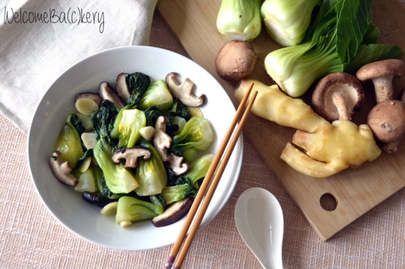 Bok choy with fresh shiitake
