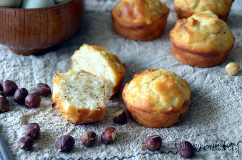 Leeks and hazelnuts muffins