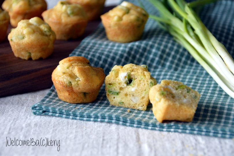 Spring onion and feta mini muffins