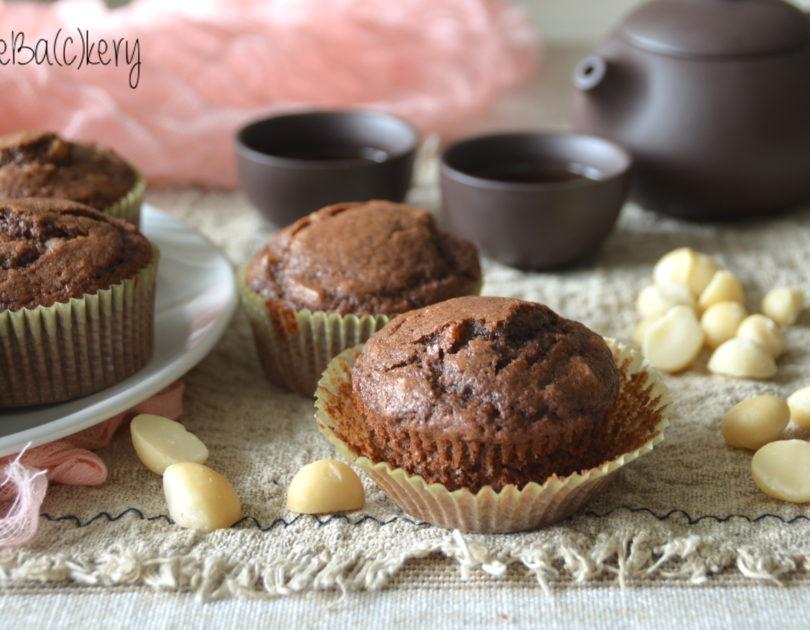 Muffins al cacao e noci di Macadamia