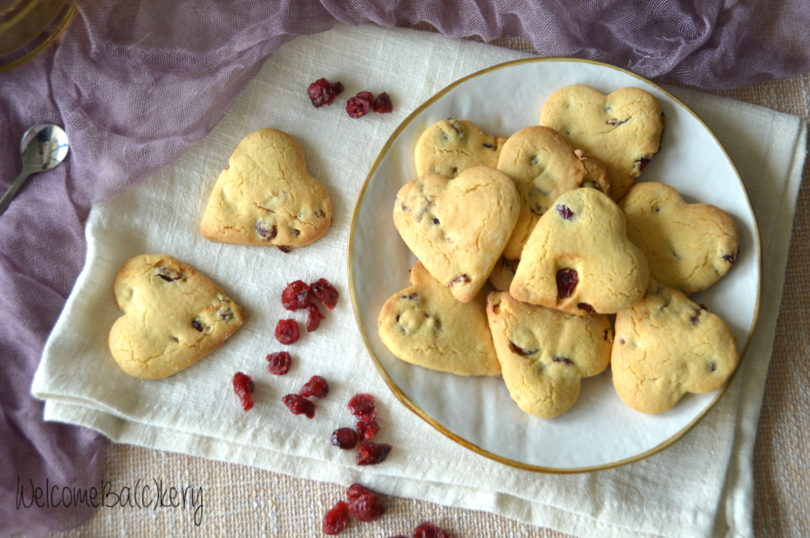 Cranberries and orange cookies, with oil