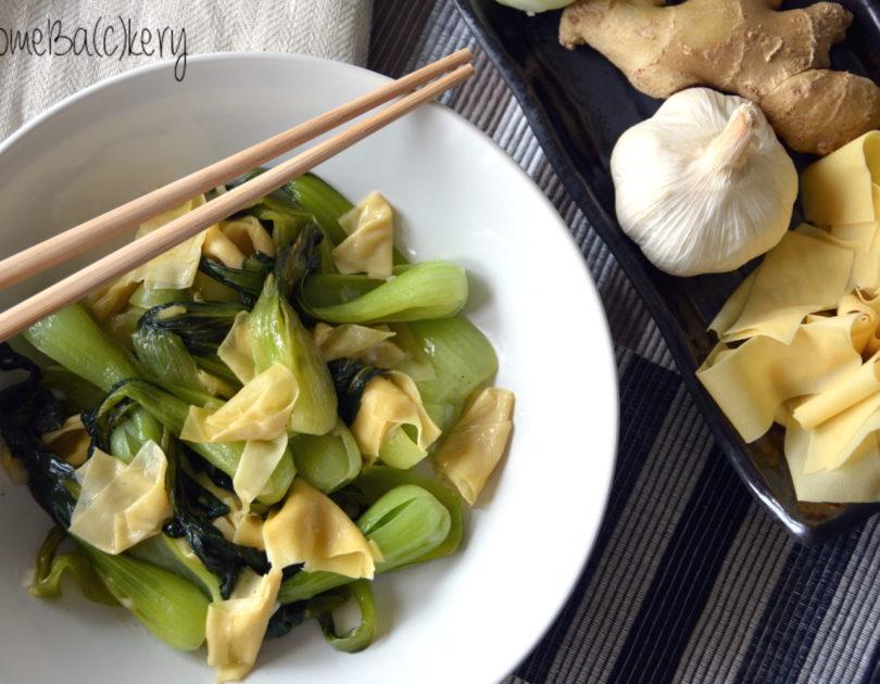Bok choy con tofu skin