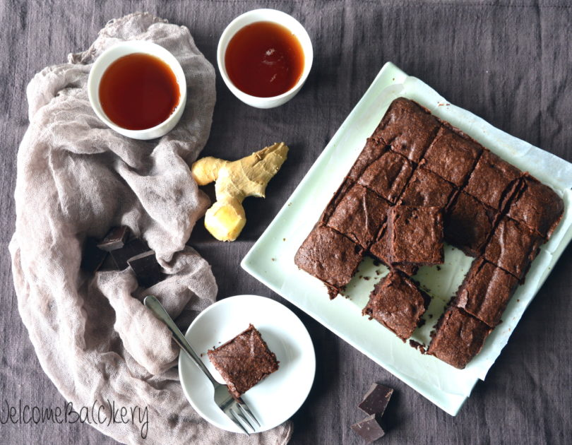 Ginger and chocolate brownies