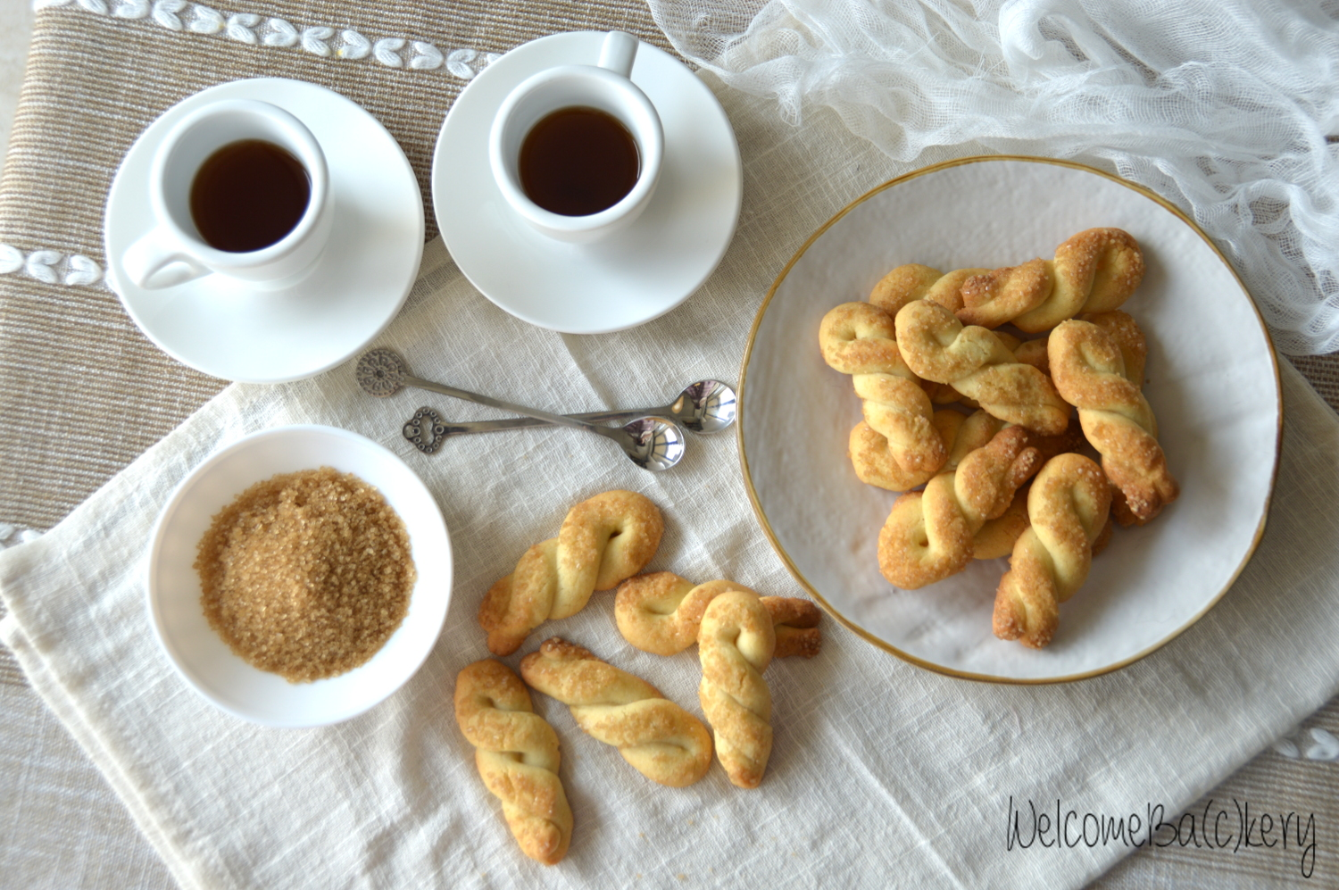 Butter twists, with egg whites