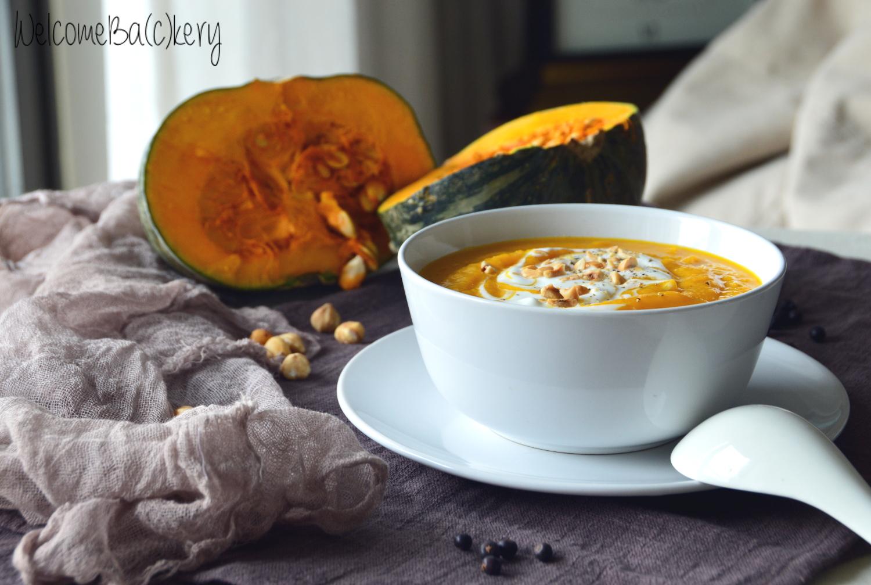 Pumpkin soup, with beer and juniper